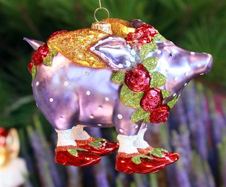 08 30709 rose pig glass 450 372 cochons for Christmas ornaments sale